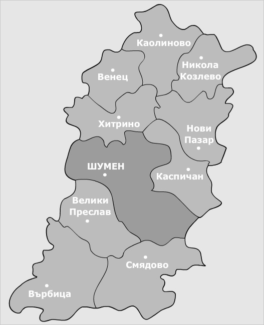Карта на област Шумен